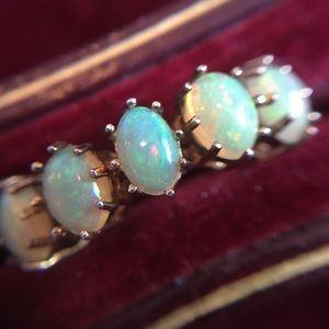 Gold Vermeil 925 Opal Cabochon Ring 7.5